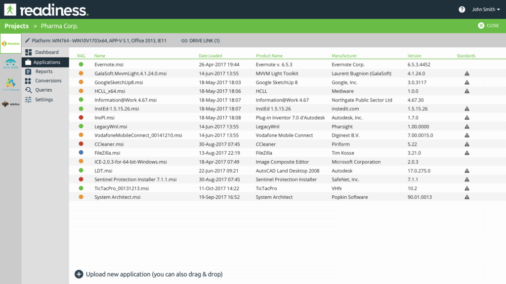 List of applications to be analyzed and converted